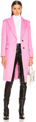 Smythe Peaked Lapel Overcoat in Extra Pink with Leopard Lining | FWRD