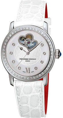 Frederique Constant FC310WHF2PD6 Double Heart Beat stainless steel, diamond and calfskin watch