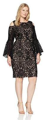 Xscape Evenings Women's Plus Size Short Cold Shoulder Dress