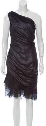 J. Mendel Metallic-Accented One-Shoulder Dress
