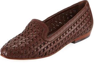 Sesto Meucci Nefen Woven Flat Loafer, Dark Tan