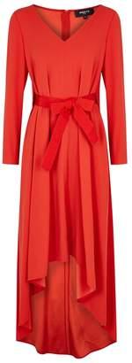 Paule Ka Bright Red Waterfall-hem Gown