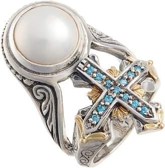 Konstantino Thalia Blue Cross Pearl Ring
