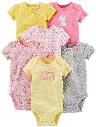 Carter's Simple Joys by Baby Girls' 6-Pack Short-Sleeve Bodysuit