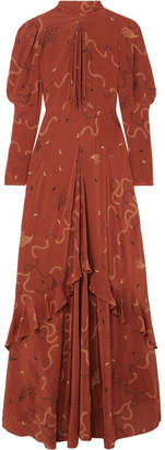 Etro Ruffled Printed Silk-chiffon Maxi Dress - Brown