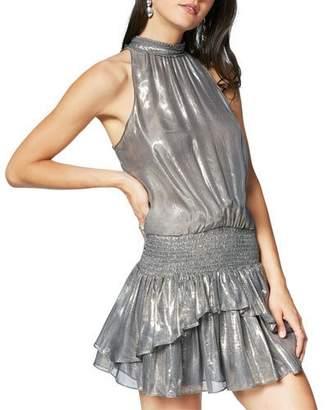 Ramy Brook Allona Metallic High-Neck Ruffle Short Dress