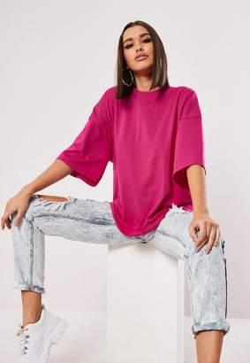 Missguided Pink Drop Shoulder Oversized T Shirt