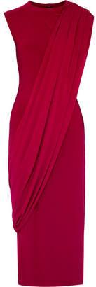 Norma Kamali Asymmetric Draped Stretch-jersey Midi Dress