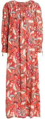 Antik Batik Gathered Printed Cotton Maxi Dress