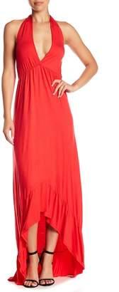 Loveappella Hi-Lo Ruffle Trim Maxi Dress