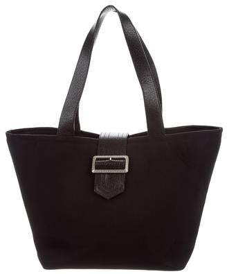 Burberry Leather-Trim Canvas Tote
