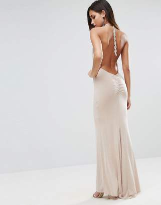 Asos Slinky Halter Embellished Ruched Back Maxi Dress