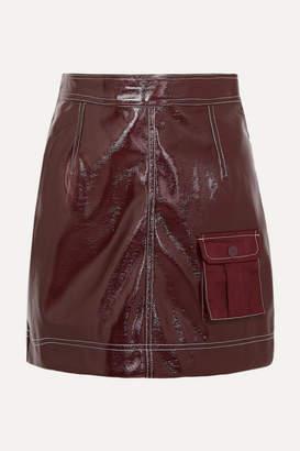 Ganni Faux Patent-leather Mini Skirt - Burgundy