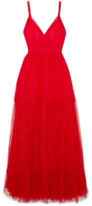 STAUD - Mandy Tulle Maxi Dress - Red