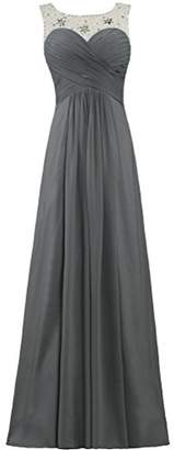 ANTS Women's Bead Neck Sleeveless Chiffon Long Wedding Party Dresses Size US Grey