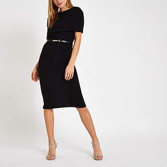 River Island Black cape belted bodycon midi dress