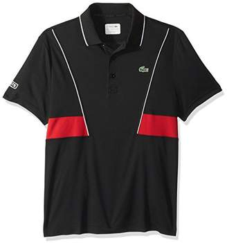 Lacoste Men's Short Sleeve Pique Ultra Dry Contrast Broken Yoke & Piping Polo