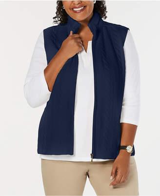 Karen Scott Plus Size Sherpa-Collar Vest