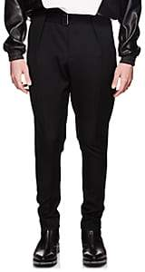 Givenchy Men's Belted Wool Twill Carrot-Leg Trousers - Black
