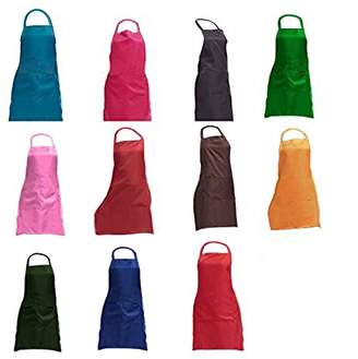 "TRENDBOX Total 11 PCS Plain Color Bib Apron Adult Women Unisex for Waist Size 23"" to 35"" Durable Comfortable with Front Pocket Washable for Cooking Baking Kitchen Restaurant Crafting"