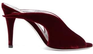 Givenchy Winged Peep Toe Velvet Mules - Womens - Burgundy
