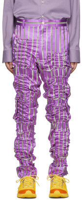 Comme des Garcons Purple Silk Satin Stripe Trousers