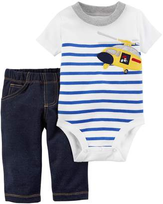 Carter's Baby Boy Striped Helicopter Bodysuit & Denim-Like Pants