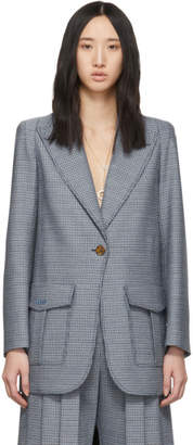 Fendi Blue Plaid Single Breasted Blazer