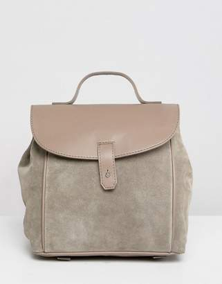 Asos DESIGN suede leather mix backpack