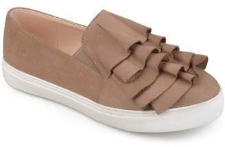 Brinley Co. Women's Faux Suede Slip-on Ruffle Sneakers
