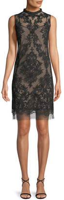 No.21 No. 21 Sleeveless Mock-Neck Lace Short Cocktail Dress