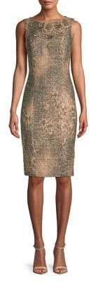 Badgley Mischka Platinum Embellished Sleeveless Sheath Dress