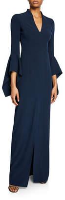 Halston V-Neck Flounce-Sleeve Crepe Gown
