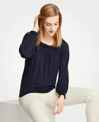 Ann Taylor Smocked Square Neck Top
