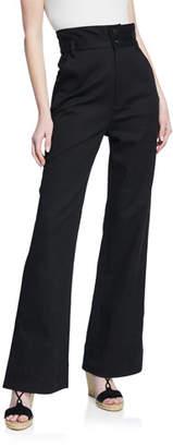 Rebecca Minkoff Flora Flare-Leg Pants w/ Double Waistband