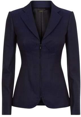 La Perla Essentials Blue Jacquard Zip Front Corset Jacket With Built-In Bra