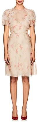 Valentino WOMEN'S LACE-TRIMMED FLORAL STRETCH-SILK ORGANZA DRESS - BEIGE/TAN SIZE 42