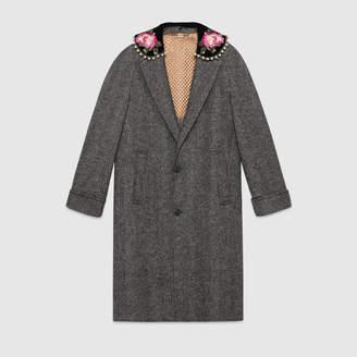Gucci Herringbone coat with embroidery