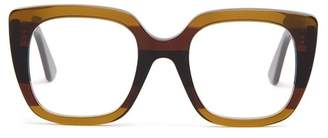 Gucci - Oversized Striped Acetate Glasses - Womens - Brown Multi
