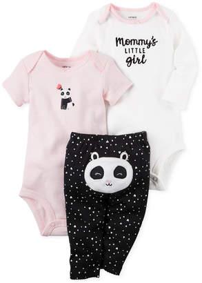 Carter's 3-Pc. Cotton Panda Bodysuits & Pants Set, Baby Girls (0-24 months) $11.98 thestylecure.com