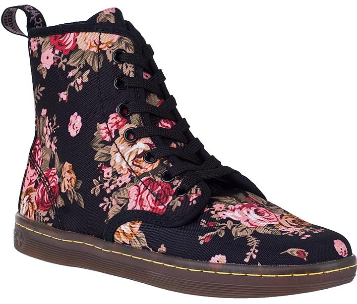 Dr. Martens Shoreditch Ankle Boot Black Floral Fabric