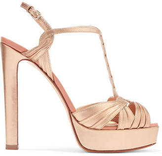 Francesco Russo Metallic Leather Platform Sandals - Gold