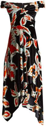 Peter Pilotto Floral-print off-the-shoulder velvet dress