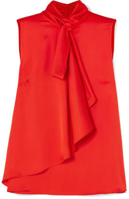 Alexander McQueen Pussy-bow Silk-satin Top - Red
