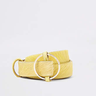 River Island Yellow leather RI circle buckle jeans belt