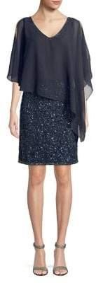 J Kara Petite Embellished Asymmetrical Popover Dress