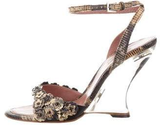 Alaia Lizard Wedge Sandals