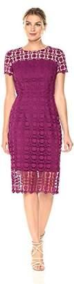 London Times Women's Short Sleeve Round Neck Midi Lace Sheath Dress
