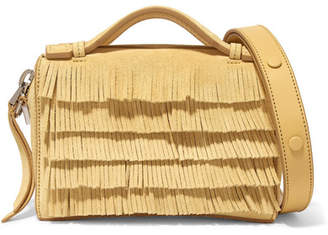 Tod's Bauletto Micro Fringed Suede Shoulder Bag - Pastel yellow