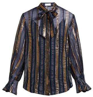 Peter Pilotto Striped Metallic Silk Blend Chiffon Blouse - Womens - Gold Multi